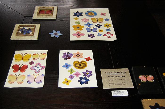 Mini flowers and butterfly paintings by Yoko Kobayashi