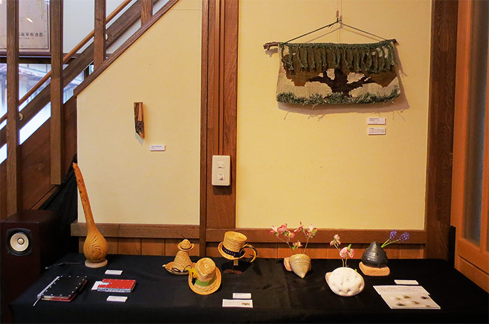 Handwoven tapestry by Yumiko Kitamura (upper right)