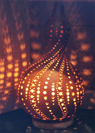 Lamps made of gourd by Nobuo Yamagishi